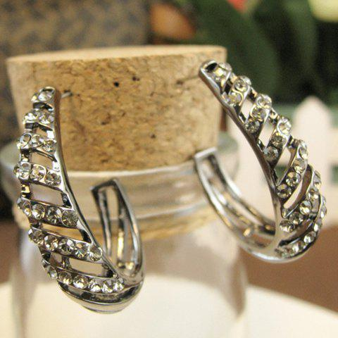Chic Pair of Simple Diamante Hollow Arc Shape Earrings For Women