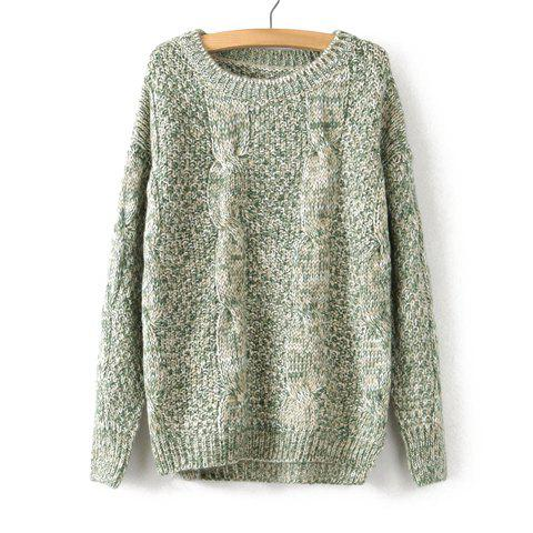 Sale Vintage Scoop Neck Cable-Knit Long Sleeve Sweater For Women