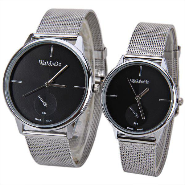 Discount Valentine WoMaGe Quartz Watch with Strips Indicate Steel Watch Band for Couple - Blue