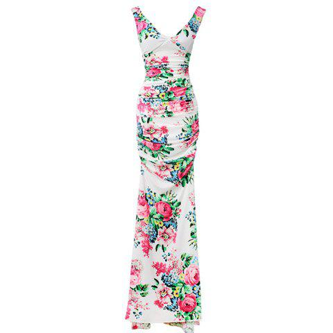 Best Floral Print Ladylike Style V-Neck Sleeveless Polyester Women's Maxi-Dress