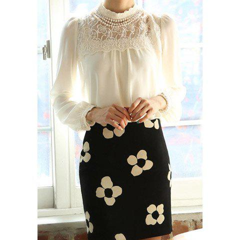 Affordable Beaded Long Sleeves Solid Color Refreshing Style Chiffon Women's Blouse