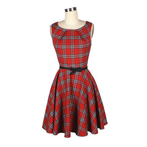 Outfit Vintage Round Collar Ruffled Checked Sleeveless Women's Rockabilly Tartan Dress With A Belt
