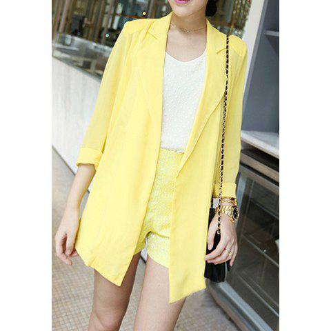 Sale Tailored Collar Solid Color Refreshing Style Chiffon Women's Blazer
