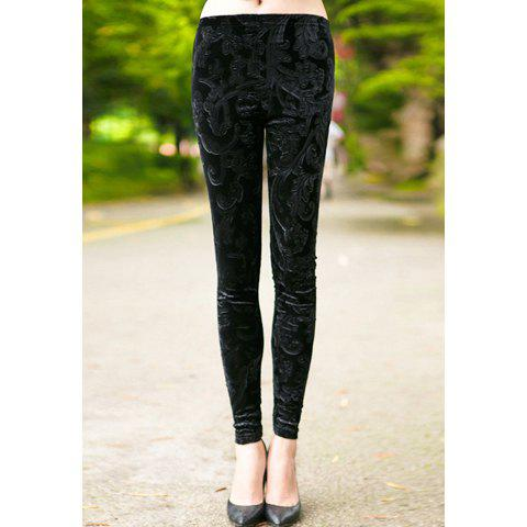 Outfit Vintage Floral Pattern Elastic Narrow Feet Women's Pants