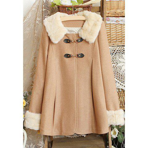 Cheap Long Sleeves Flat Collar Fur Stitching Button Embellished Long Sections Stylish Women's Trench Coat