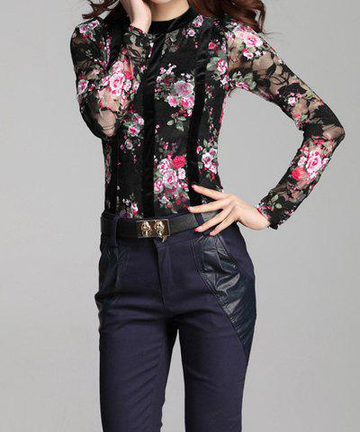 Hot Stylish Round Neck Floral Emboridery Long Sleeve Lace Blouse For Women