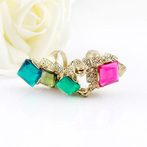 Outfits Fashion Colored Faux Crystal Embellished Alloy Ring With Two Loops For Women