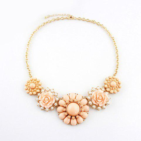 Outfit Sweet Colored Bead and Faux Gemstone Embellished Flower Pendant Alloy Necklace For Women