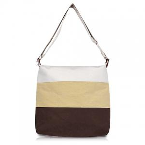 Casual and Sweet Stripe Sacking One-Shoulder Bag For Female - Khaki