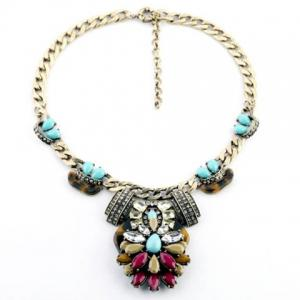 Elegant Colored Faux Gemstone Flower Pendant Alloy Necklace For Women