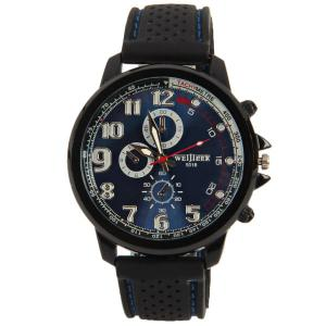 WEIJIEER Quartz Watch with 8 Numbers and Circles Indicate Rubber Watch Band for Men -