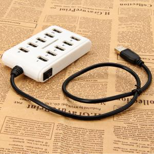 10 Ports High Performance Lightweight USB 2.0 Hub Data Rate Up to 480Mbps -