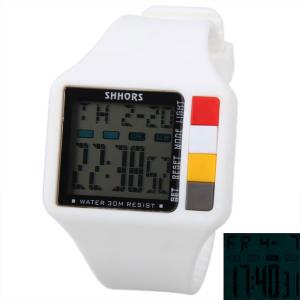 SHHORS Colorful Button Big Rectangular Shape Sport Watch Blue Light with Day and Date Display - White