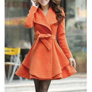 Turn-Down Collar Wool Blend A Line Coat With Belt - Jacinth - L