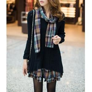Sweet Scoop Neck Faux Twinset Hollow Out Checked Splicing Long Sleeves Sweater Dress For Women - Black - Xl
