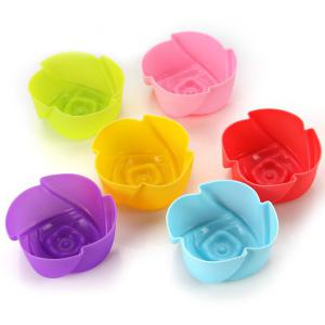6PCS Kitchen DIY Tool Ice Cubes Trays Maker DIY Cake Mould with Rose Style -