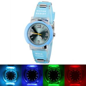80033 Tranparent Frame Quartz Watch with Rubber Band Silver Connection Buckle for Women - Blue