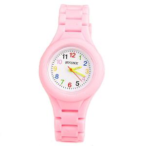 HYUNX Children Watch with 12 Arabic Numbers Indicate and Silica Gel Band -