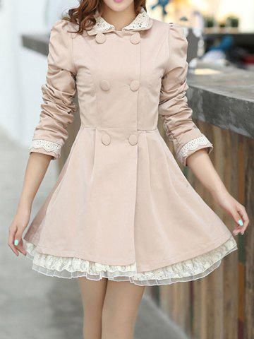 Fashion Lace Splicing Refreshing Style Long Sleeves Double-Layered Collar Polyester Women's Trench Coat BEIGE M