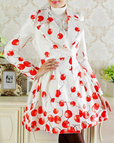 Fashion Elegant Turn-Down Collar Cherry Print Double-Breasted Long Sleeve Trench Coat For Women