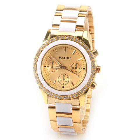 Discount Paidu Quartz Watch with Rectangls and Strips Indicate and Plastic and Steel Watch Band for Women