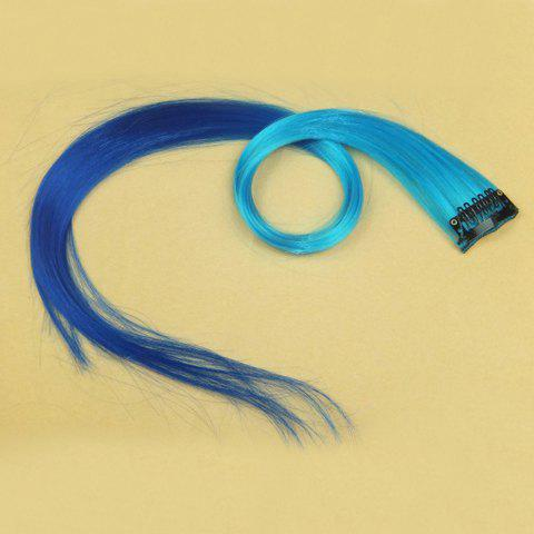 Best Stylish Ombre Highlight Synthetic Long Straight Women's Hair Extension(Light Blue + Blue)