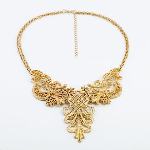 Best Alloy Hollow Out Flower Pendant Necklace - AS THE PICTURE  Mobile