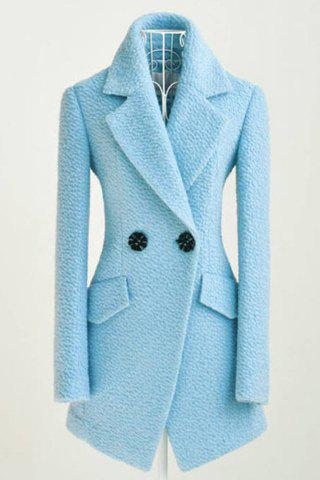 Online Simple All-Match Turn-Down Collar Solid Color Two Buttons Long Sleeves Waisted Blended Women's Coat