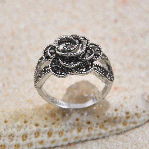 Trendy Vintage Diamante Rose Embellished Alloy Ring
