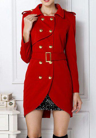 Latest Fashion Turn-Down Collar Belted Double-Breasted Design Long Sleeves Slimming Women's Trench Coat RED M