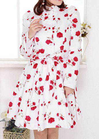 Chic Sweet Stand Collar Rose Print Bowknot Belted Design Long Sleeves Slimming Women's Trench Coat