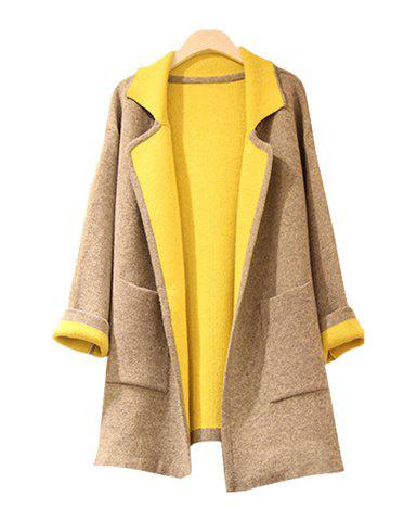 Outfit Fashionable Turn-Down Collar Color Matching Pockets Slimming Long Sleeves Women's Coat