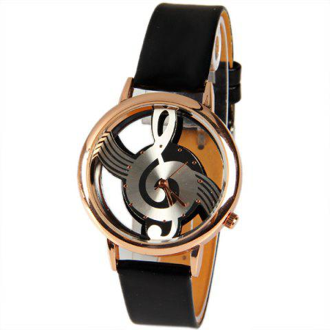 Fashion M388 Fashion Style Quartz Watch 12 Mini Dots Indicate with Music Notes Patterned and Leather Band - Black BLACK