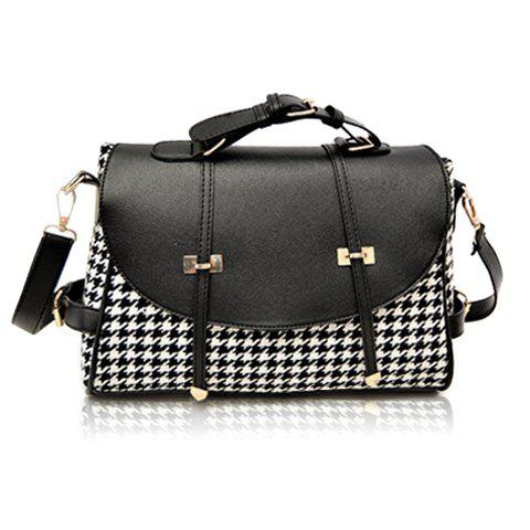 Sale Fashion Houndstooth and Buckle Design Women's Crossbody Bag - BLACK  Mobile