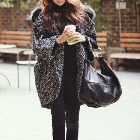Discount Batwing Sleeves Hooded Lapel Fur Stitching Pockets Long Edition Korea Style Loose-Fitting Women's Coat