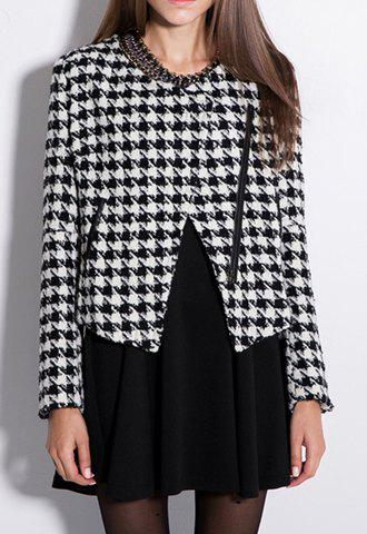 Store Color Block Worsted Long Sleeves Fashionable Style Checked Women's Blazer