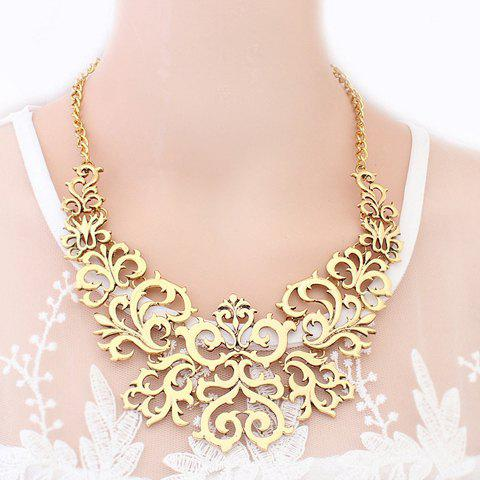 Openwork Carved Flower Pattern Necklace - AS THE PICTURE