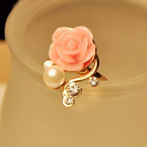 Beads Rhinestone Rose Flower Ring - AS THE PICTURE ONE SIZE