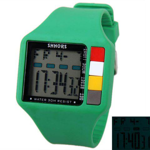 SHHORS Colorful Button Big Rectangular Shape Sport Watch Blue Light with Day and Date Display - Green