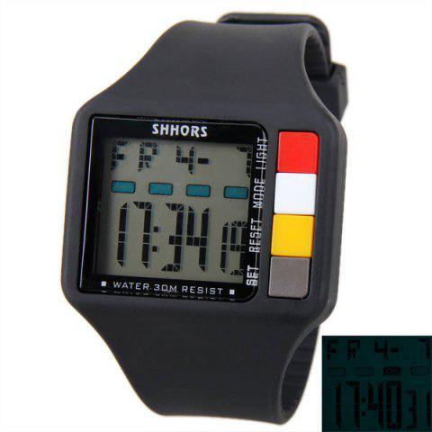 SHHORS Colorful Button Big Rectangular Shape Sport Watch Blue Light with Day and Date Display - Black