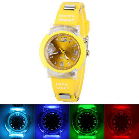 80033 Tranparent Frame Quartz Watch with Rubber Band Silver Connection Buckle for Women - Yellow