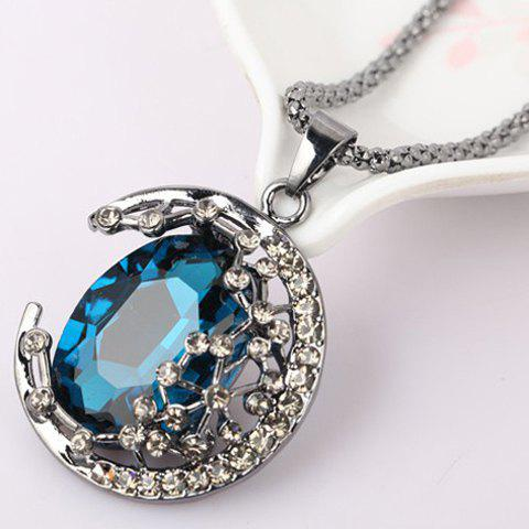 Discount Chic Colored Faux Crystal Embellished Crescent Sweater Chain Necklace For Women