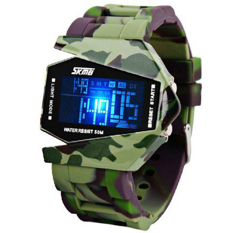 Sale Skmei Waterproof Rubber Band Watches with Blue Numbers Hour Marks Special Shaped