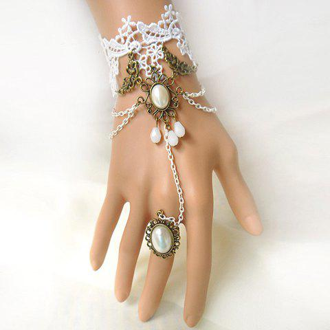 Beaded Lolita Lace Strand Bracelet With Ring For Women $4.22 AT vintagedancer.com