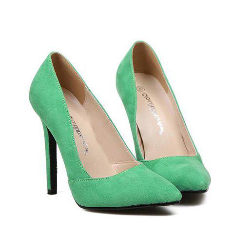 Online Elegant Pointed Toe and Suede Design Women's Pumps