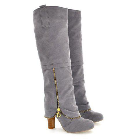 Sale Elegant Suede and Zipper Design Women's Knee High Boots