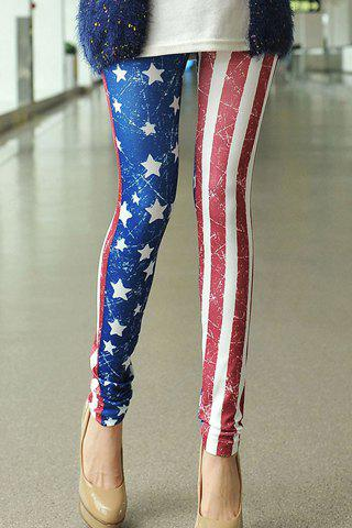 Sale Casual Style Star Print Stripe Color Block Skinny Women's Leggings