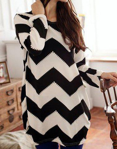 Shops Long Sleeves Scoop Neck 2-Toned Ripple Pattern Long Sections Plus Size Women's T-shirt