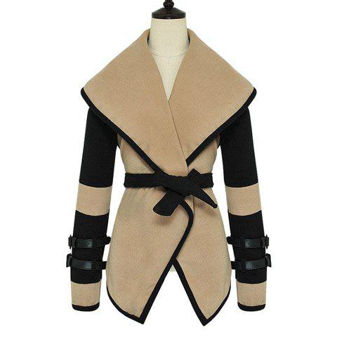 Best Stylish Big Turndown Collar Color Block Belted Buttonless Long Sleeves Women's Coat