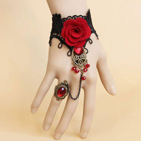 Online Vintage Gemstone Flower Lace Bracelet With Ring - AS THE PICTURE  Mobile